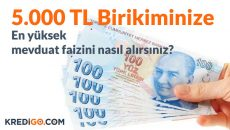 5.000 TL'ye En Yüksek Mevduat Faizi Veren Bankalar